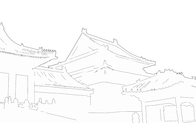 sketch of chinese style buildings