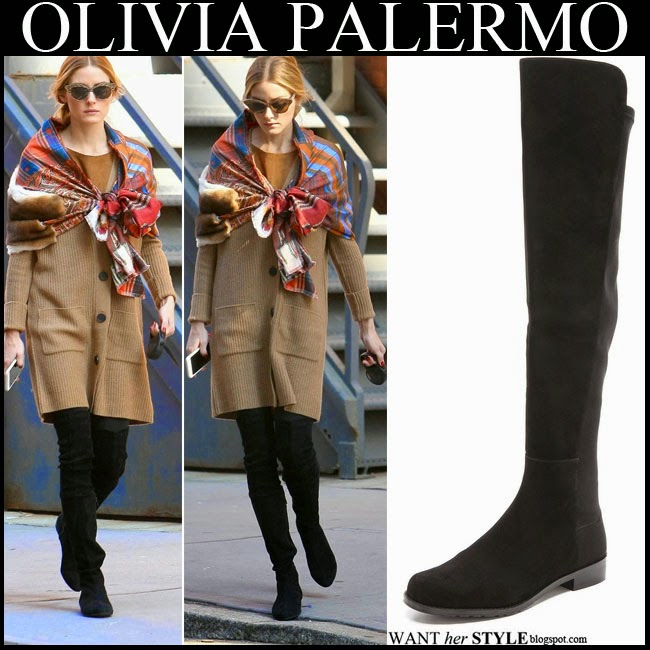 Olivia Palermo in camel oversized cardigan with Stuart Weitzman 50 50 black suede knee boots and fur embellished silk scarf walking her dog winter want her style