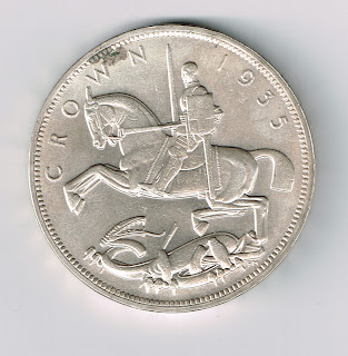 GREAT BRITAIN 1935 KING GEORGE V ONE CROWN SILVER COIN (W-94)