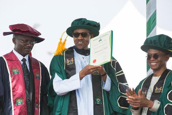 Pres.  Buhari bags doctorate degree at the Kaduna State University [ Photos ]