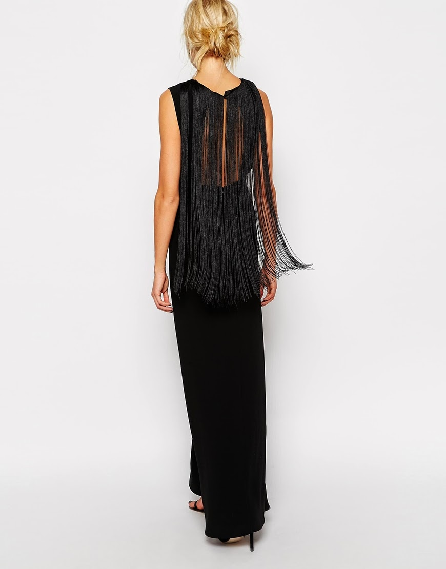 black fringe back maxi dress, black fringe maxi dress,