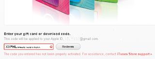 Erro de ativação iTunes Gift Card
