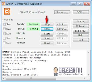Restart Apache pada kontrol panel xampp
