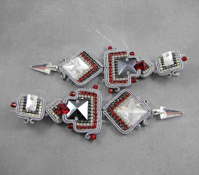 Długie kolczyki z kryształami Swarovski i z cyrkoniami