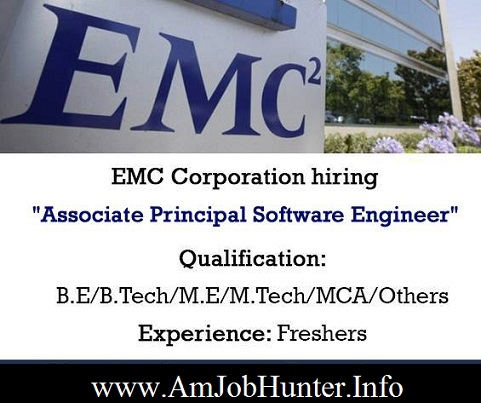 EMC Corporation looking for software engineers freshers
