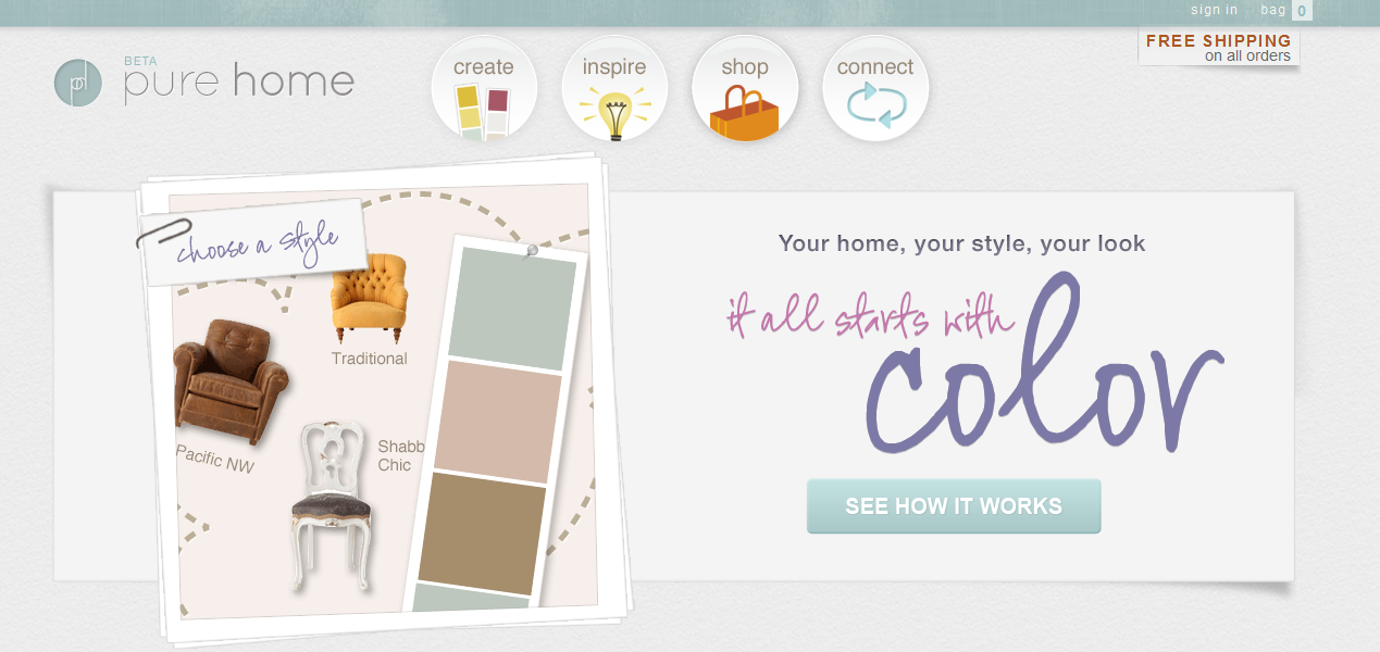 Quizzes that pinpoint style  tools that help pick out colors  galleries  that suggest furniture    I just can t resist  So naturally  when I heard  about the. The Lovely Side  Pure Home  It All Starts with Color