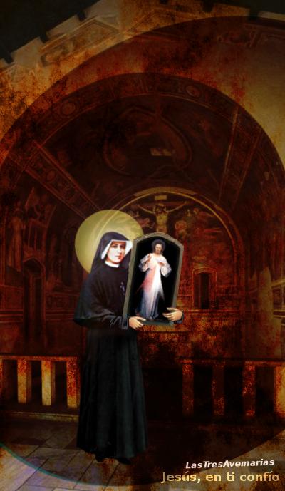 cuador divina misericordia en brasos de santa faustina