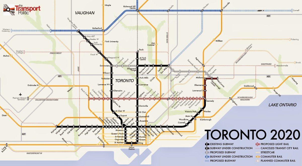 Map of Toronto`s planned metro lines 2020