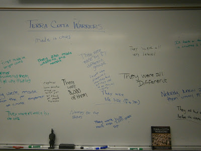 Student Made White Board List of Terra Cotta Warrior Facts