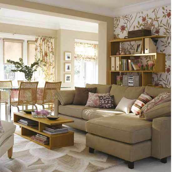Curtains Ideas curtains matching wallpaper : New Home Interior Design: Traditional Living Room
