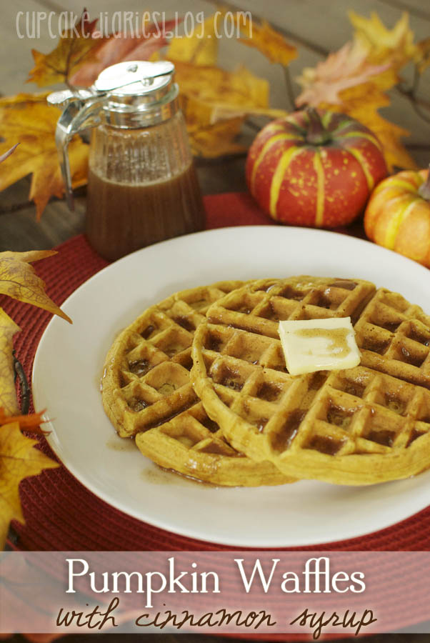 Pumpkin Waffles with Cinnamon Syrup - Cupcake Diaries