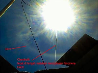 Ini Fenomena HALO atau Chemical Trails diatas Sidoarjo
