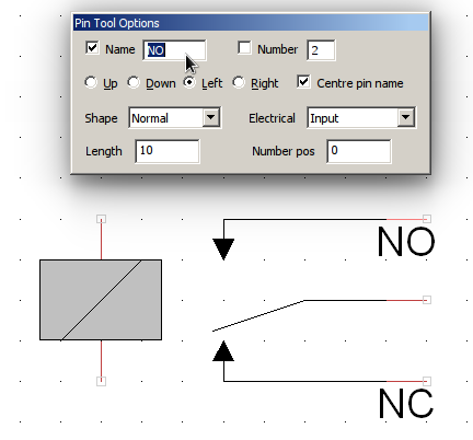 TinyCAD relay symbol