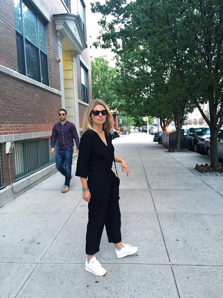 Reformation kimono jumpsuit, Raen sunglasses, Reebok sneakers