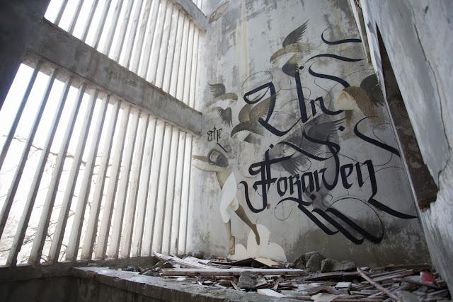 Street Art By Fikos Antonios and Simon Silaidis in the abandoned Sanatorium of mount Parnitha - Athens, Greece. 6