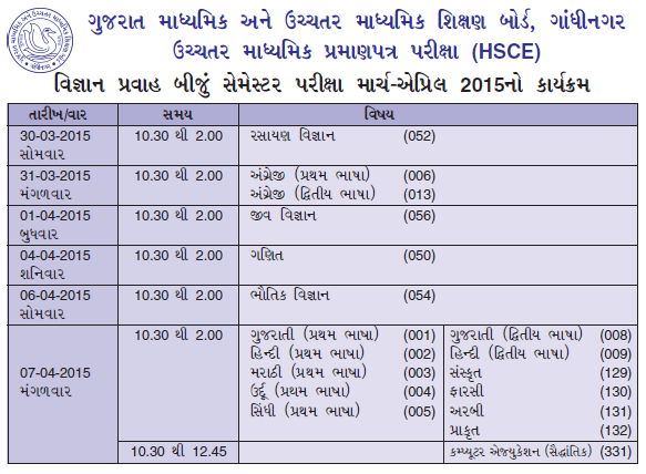 GSEB-HSC-2nd-Semester-Exam-Time-Table-2015