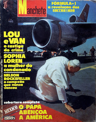 Revistas anos 70; visita do Papa João Paulo II ao México; Nelson Rockefeller; Brook Shields; Anita Ekberg; Toni Ramos; Fórmula 1; novela Dancin' Days; etc.