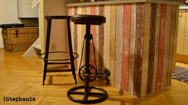 neue Kücheninsel | mit Tapete beklebt | vonStephanie