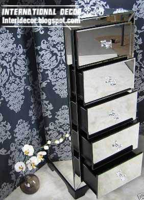 mirrored furniture, mirrored drawers unit