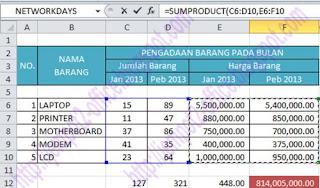perhitungan nilai barang dengan fungsi sumproduct pada Microsoft Office 2010 dengan menggunakan 2 array