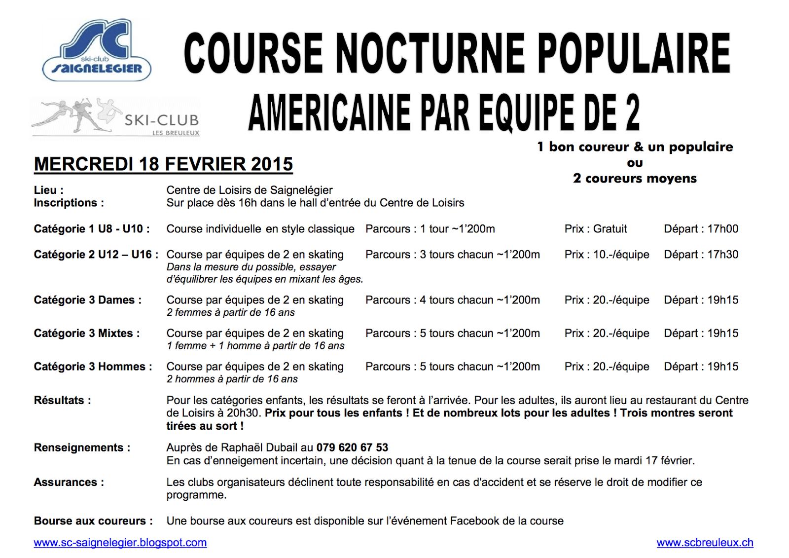 Programme de la course nocturne du 18 février !