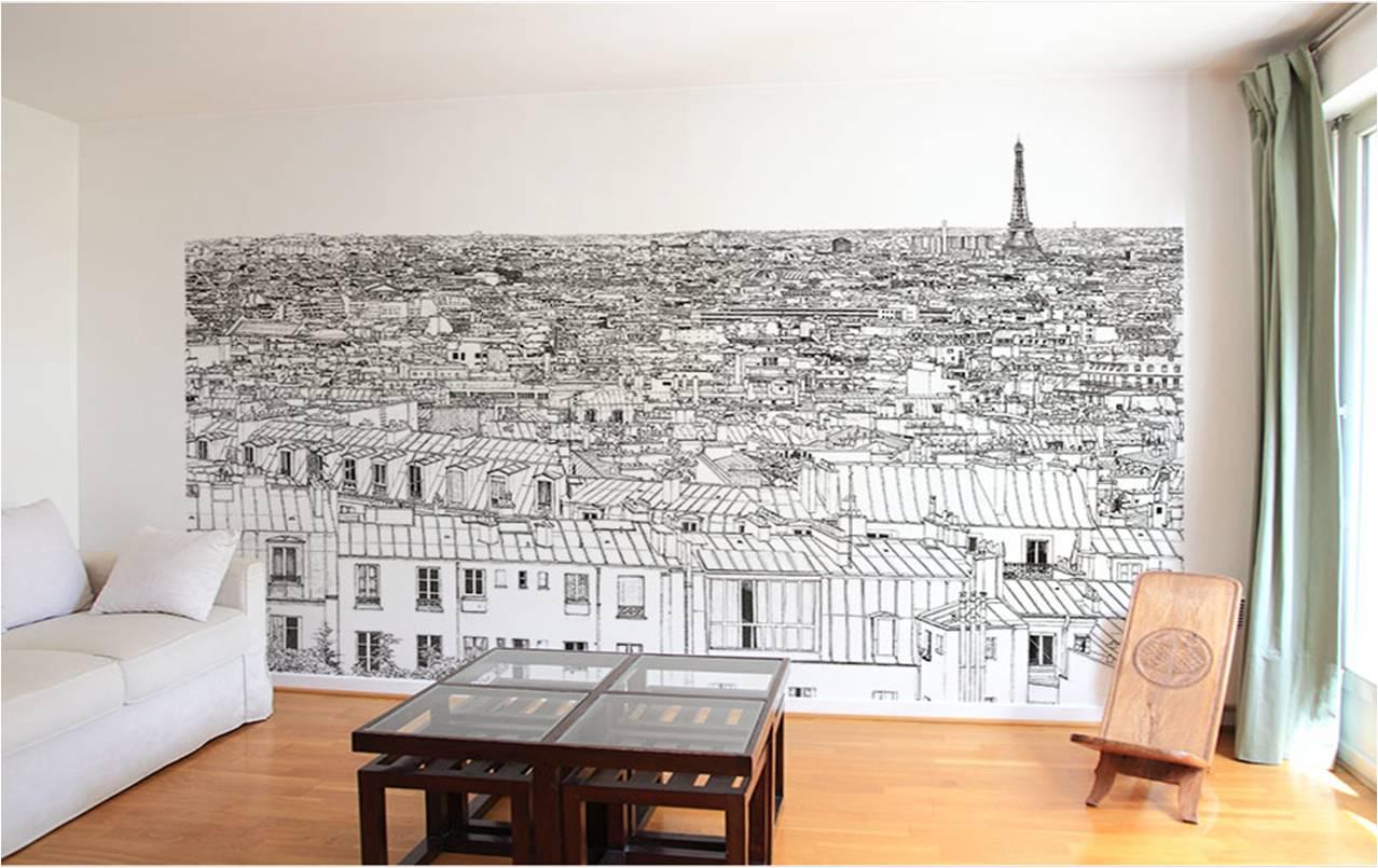 papier peint vue sur Paris