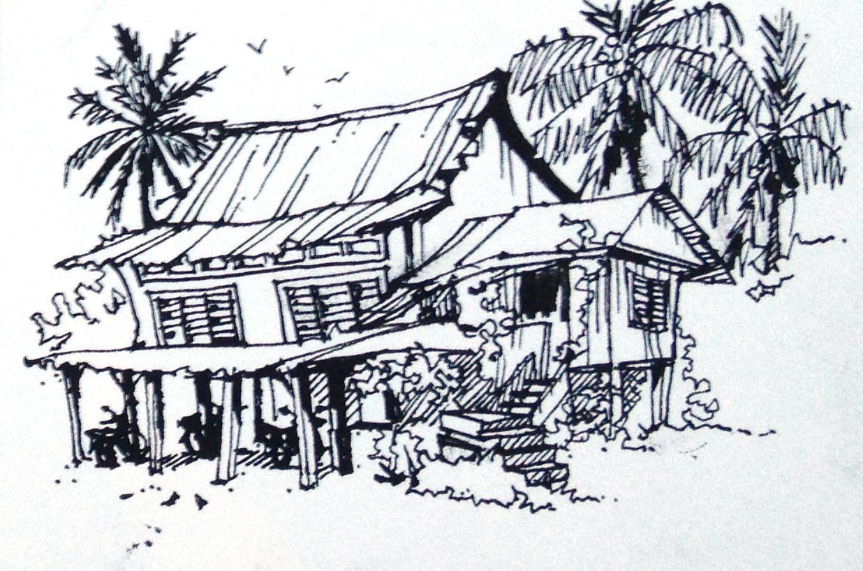 Line Art Village : Indian village line drawing pixshark images