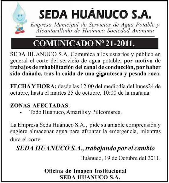 TODO HUANUCO SIN AGUA EL 25 Y 25 DE OCTUBRE 2011 by huanuco.blogspot.com