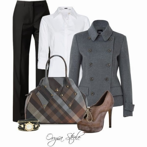 White shirt, black pants, grey jacket, handbag and high heels for fall