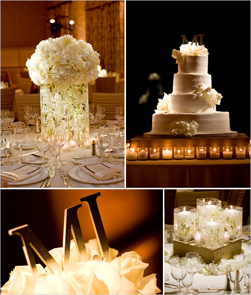 Champagne and gold tones are used here at a reception just the slightest
