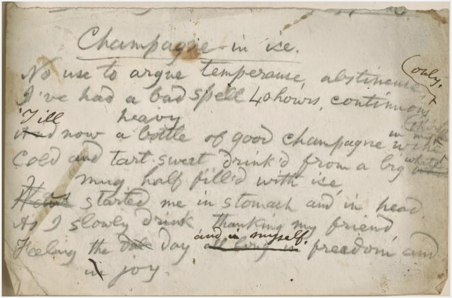 Whitman manuscript from the New York Public Library