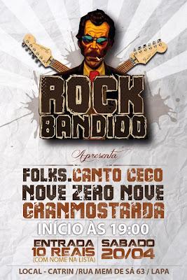 Rock Bandido, dia 20/4 na Lapa