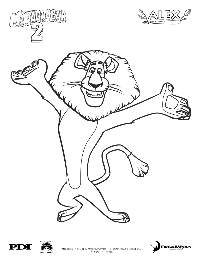alex the lion coloring pages - photo#1