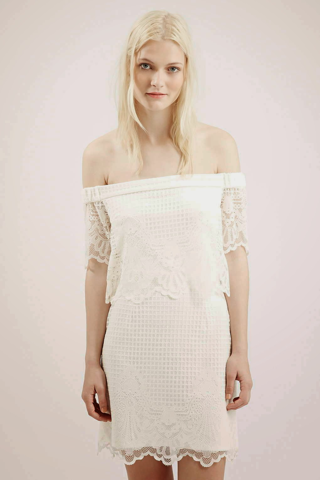 white lace bardot style dress, white lace off shoulder dress,