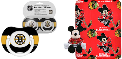 Boston Bruins NHL Pacifiers 2-Pack Set / Chicago Blackhawks NHL Mickey Mouse Plush & Blanket Set