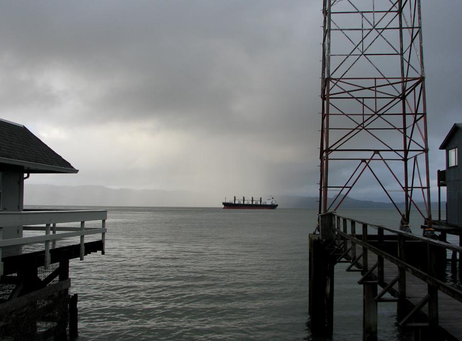 Ship, Rain, Sky