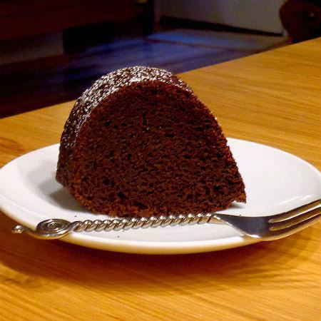 pumpkin  and chocolate bundt cake with bittersweet chocloate glaze