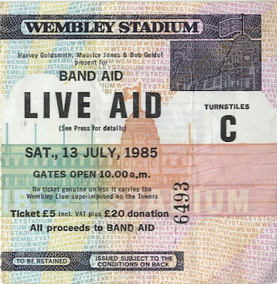 Live Aid ticket for Wembley Stadium London 1985