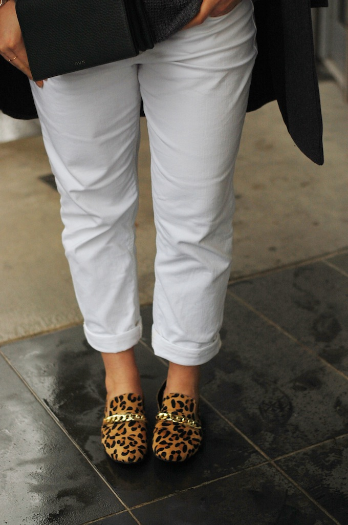 White pants in winter and Steve Madden leopard loafers