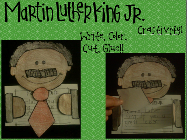http://www.teacherspayteachers.com/Product/Martin-Luther-King-Jr-Craftivity-1067968