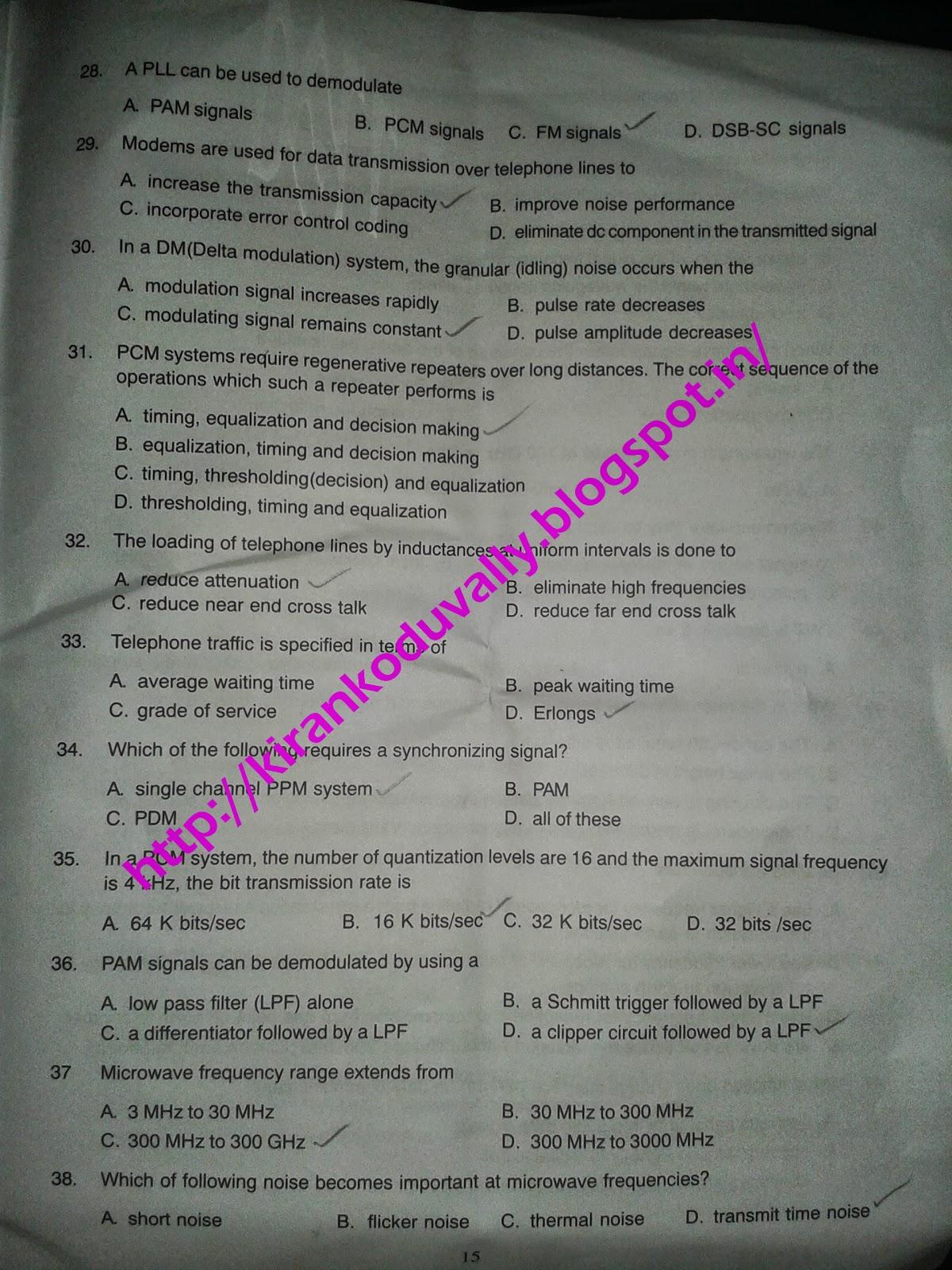 bsnl exam model question