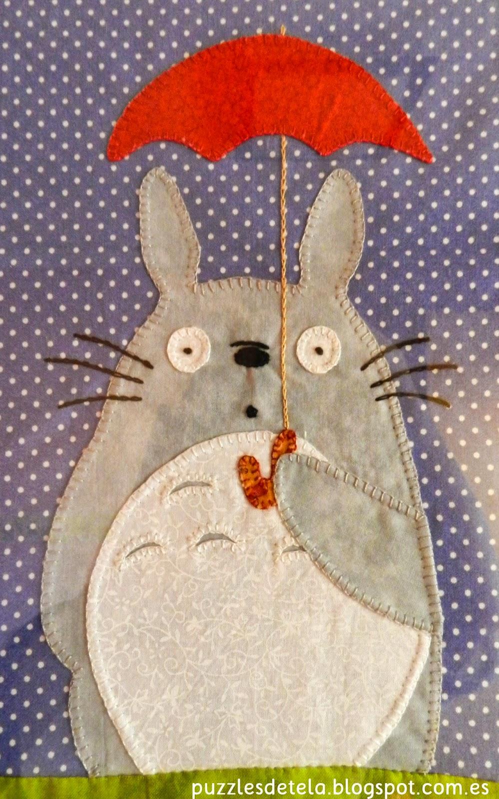 Puzzles de tela, patchwork, Totoro, Mi Vecino Totoro, Salón del Cómic, cuadros de patchwork, decoración patchwork,