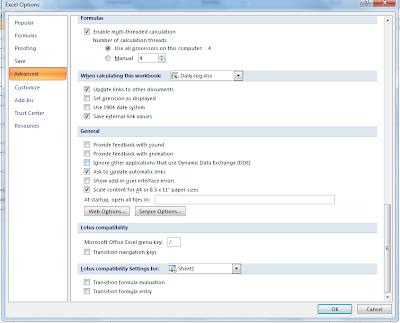 Microsoft Excel 2007: Excel Option : Advanced Tab