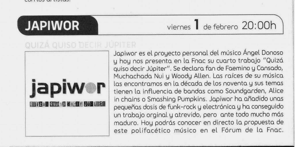 __/01/2008 Revista AGENDA FNAC BULEVAR Alicante