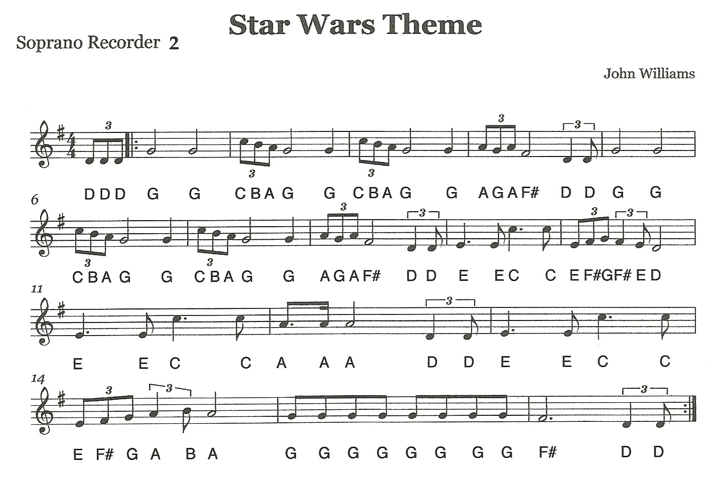 third street music recorder ensemble star wars second recorders