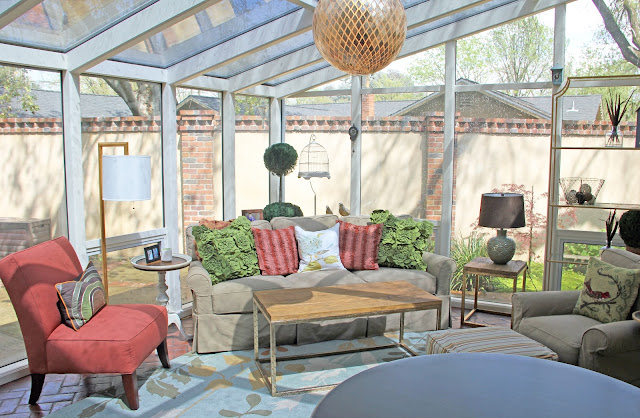 Colorful floral motifs in family room setting
