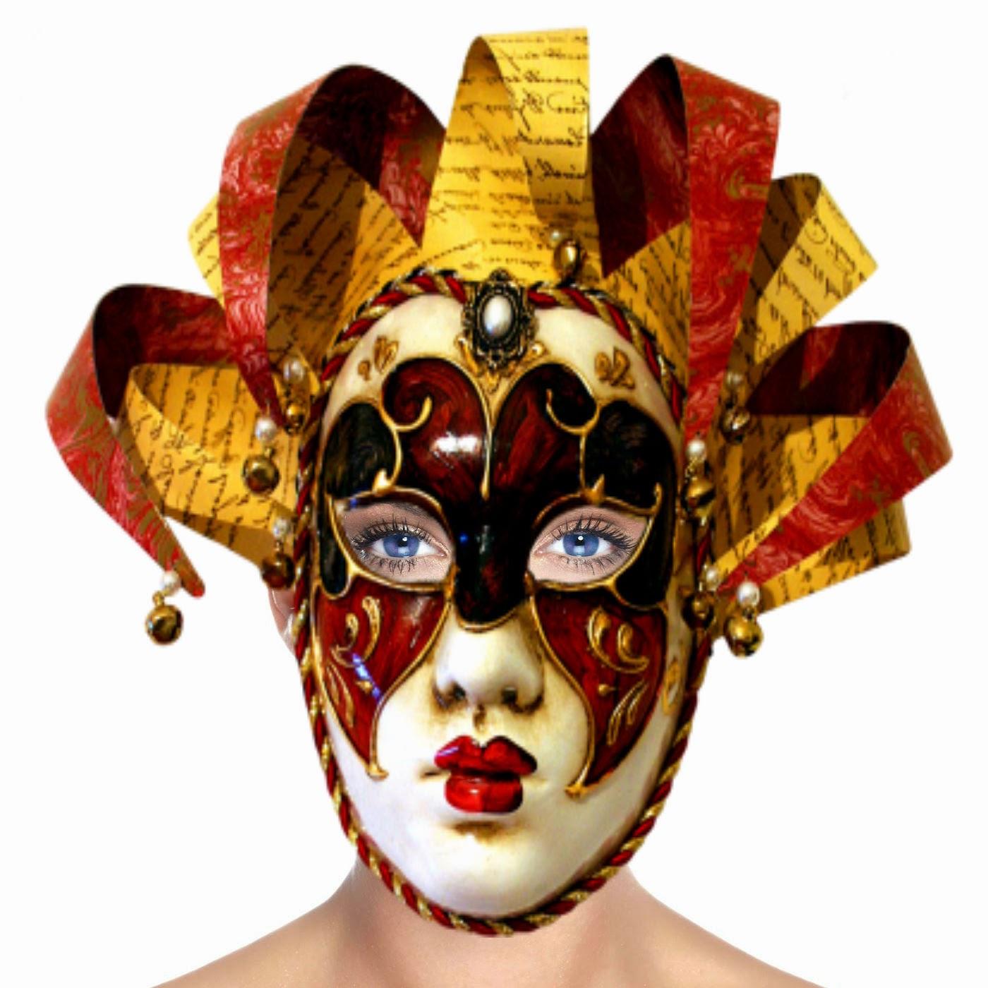Face Mulher com mascarada de Arlequin Red