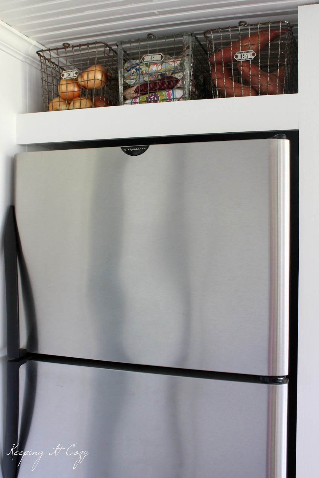 I Really Wanted An Open Shelf Above The Refrigerator For Extra Storage A Weeks Puzzled Over What Kind Of Baskets To Put On Upper