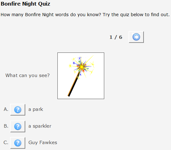 http://www.esolcourses.com/content/topics/autumn-festivals/bonfire-night-beginners-quiz.html