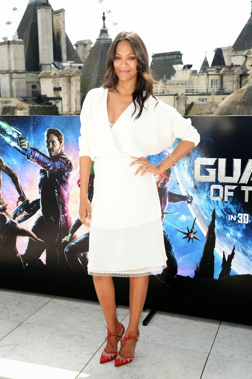 Zoe Saldana in a layered Chloe dress at the 'Guardians of the Galaxy' London photocall